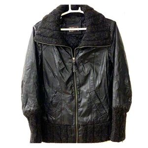 Mackage leather jacket with wool knit sleeves